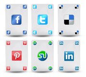Cards with the symbol of social networks Royalty Free Stock Images