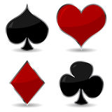 Cards symbols with frame. Playing cards symbols with metallic frame and shadow Stock Images