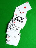 Cards on the table. Playing cards on the green casino table Stock Photo