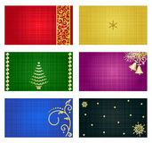 Cards and tags templates. Business cards, mini greeting cards, gift tags, invitations, etc. 3 x 2.5 templates, suitable for Christmas or New Year designs, with Stock Images