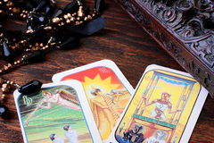 Cards tarot. With a casket for their storage and a magic beads Stock Images