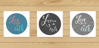 Cards template with calligraphy signs in circles. Stock Photo