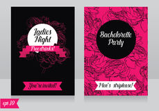 Cards template for ladies bachelorette party. Vector illustration Stock Photos