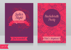 Cards template for ladies bachelorette party. Vector illustration Stock Images