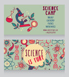 Cards template for science camp vector illustration