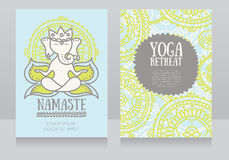 Cards template for yoga retreat with lord ganesha in meditation Royalty Free Stock Images