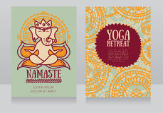 Cards template for yoga retreat with lord ganesha in meditation Royalty Free Stock Photography