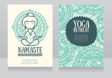 Cards template for yoga retreat or yoga studio Royalty Free Stock Photography