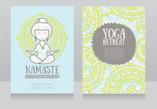 Cards template for yoga retreat or yoga studio Royalty Free Stock Photo