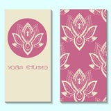Cards template for yoga studio with lotuses. Yoga vertical vector Stock Images