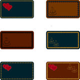 Cards, templates for invitations, business cards, menus, greeting cards. With gold embroidery, coffee beans, coffee mugs, hearts Royalty Free Stock Photos