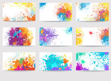 Cards templates made of paint stains Royalty Free Stock Photos