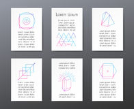 Cards with text and geometric shapes for Royalty Free Stock Photography
