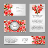 Cards with texture of pink lilies and text. Four cards with the texture of delicate pink lilies and an exemplary text on a white background Royalty Free Stock Image