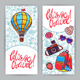 Cards on travel theme. Let's go to travel. two cute cards on travel theme. hand-drawn illustration Stock Images