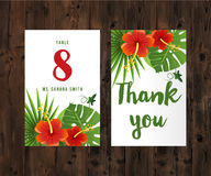 Cards with tropical leaves and flowers Royalty Free Stock Photography