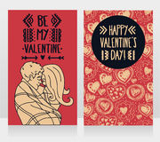 Cards for valentine`s day with kissing couple and hand drawn hearts ornament Royalty Free Stock Image