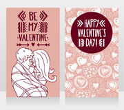 Cards for valentine`s day with kissing couple and hand drawn hearts ornament Royalty Free Stock Photos