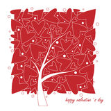 Cards for Valentines Day. Love tree on white Stock Photography