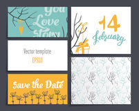 Cards Valentines Day. It contains template design four cards and one blank. decorated with branches, hearts, gifts with ribbons. Dark gray background Stock Photo