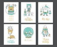 cards varios för julsamlingshälsning vektor illustrationer