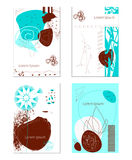 Cards. Vector set of abstract unusual contemporary cards blue and brown colors for flyers, banners, prints with geometric hand-drawn shapes and contorni animals royalty free illustration