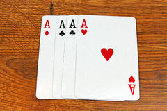 Cards on vintage wood Stock Photo