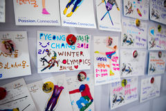 Cards on the wall made by tourists  with regards to the guests and the organizers of the Olympic Winter Games 2018. GANGNEUNG, SOUTH KOREA - JANUARY, 2017: Cards Stock Photo