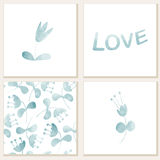 Cards with watercolor floral elements. Stock Images