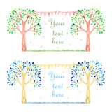 Cards with watercolor tree and garland. On white background Stock Photo