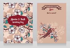 Cards for wedding with blooming tree branches and sitting swallow Royalty Free Stock Images