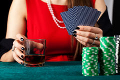 Cards and whiskey Royalty Free Stock Image