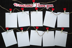 Cards Why I love you. Cards 10 reasons I love you on wooden board Stock Image