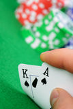 Cards winning combination in Black Jack  in hand Stock Photos
