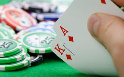 Cards winning combination in Black Jack  in hand Stock Image