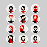 Cards with woman faces for your design. Vector illustration Royalty Free Stock Image