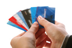 Cards in woman hands Royalty Free Stock Images