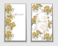 Cards with yellow flowers Royalty Free Stock Images