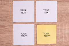Cards. Yellow and white cards on a board Stock Photo