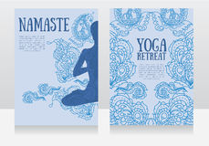 Cards for yoga retreat or yoga studio with paisley ornament and human in lotus asana Stock Images