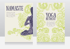 Cards for yoga retreat or yoga studio with paisley ornament and human in lotus asana Stock Photos