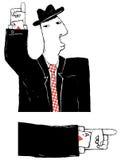 Cardsharper cartoon illustration. Cardsharper with ace hidden in Stock Photos
