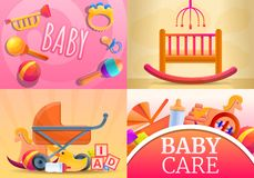Care baby items banner set, cartoon style vector illustration