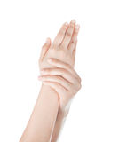 Care for beautiful woman hands Stock Photos