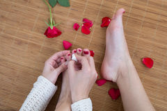 Care for beautiful woman legs and feet Royalty Free Stock Photos