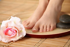Care for beautiful woman legs with flower Stock Photo