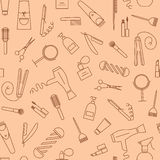 Care&Beauty Seamless Pattern. Barber Shop Icons. Royalty Free Stock Photo