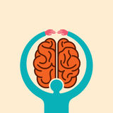 Care brain idea with hands - illustration Royalty Free Stock Photography