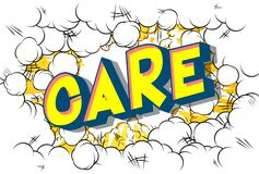 Care - Comic book style words stock illustration