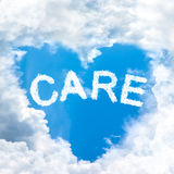 Care concept tell by shy cloud nature Royalty Free Stock Photo